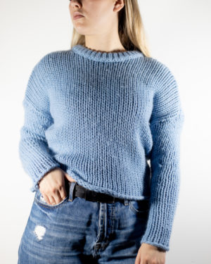 thick blue sweater